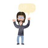 Cartoon hippie man waving arms with speech bubble Royalty Free Stock Photography