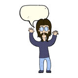 Cartoon hippie man waving arms with speech bubble Stock Images
