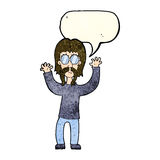Cartoon hippie man waving arms with speech bubble Royalty Free Stock Photo
