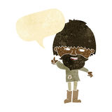 Cartoon hippie man in wellington boots with speech bubble Stock Photography