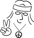 Cartoon Hippie Peace Dude/ai Royalty Free Stock Image