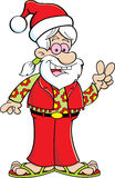 Cartoon hippie wearing a Santa hat. Royalty Free Stock Photo