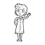Cartoon hippie woman waving Stock Image