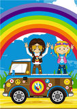 Cartoon Hippies and Camper Van. Vector Illustration of a Cute Little Sixties Flower Power Hippies and camper Van Royalty Free Stock Photo