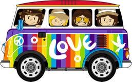 Cartoon Hippies and Camper Van. Vector Illustration of a Cute Little Sixties Flower Power Hippies and camper Van Stock Image