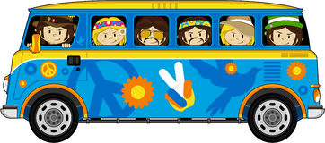 Cartoon Hippies and Camper Van. Vector Illustration of a Cute Little Sixties Flower Power Hippies and camper Van Royalty Free Stock Images