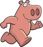 Cartoon Hippo. A pink cartoon hippopotamus running Royalty Free Stock Photo