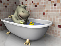 Cartoon hippo in bathtub. Royalty Free Stock Image