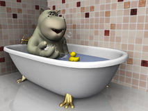 Cartoon hippo in bathtub. Royalty Free Stock Photo