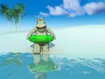 Cartoon hippo on the beach. vector illustration