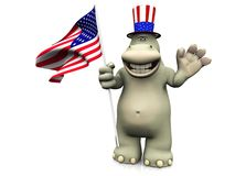 Cartoon hippo celebrating 4th of July. A friendly cartoon hippo wearing a hat and holding the American flag, celebrating Royalty Free Stock Photography
