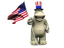 Cartoon hippo celebrating 4th of July. Royalty Free Stock Images