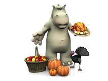 Cartoon hippo celebrating Thanksgiving nr 2. Royalty Free Stock Photos