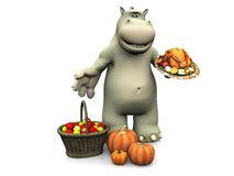 Cartoon hippo celebrating Thanksgiving. Royalty Free Stock Photography