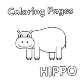 Cartoon Hippo Coloring Book. Cartoon hippo illustration. Vector coloring book pages for children vector illustration