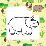 Cartoon hippo. Coloring page. Stock Image