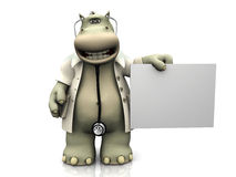 Cartoon hippo doctor with sign. Stock Image