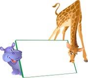 Cartoon hippo and giraffe Royalty Free Stock Image