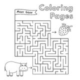 Cartoon Hippo Maze Game. Vector coloring book pages for children vector illustration