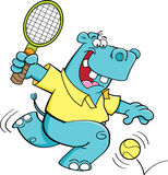 Cartoon hippo playing tennis Royalty Free Stock Photos