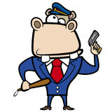 cartoon hippo police officer with gun Stock Image