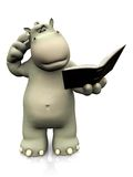 Cartoon hippo reading book and looking confused. Royalty Free Stock Image