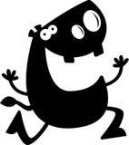 Cartoon Hippo Silhouette Running Royalty Free Stock Image