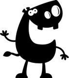 Cartoon Hippo Silhouette Waving Royalty Free Stock Photos