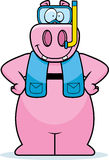 Cartoon Hippo Snorkeling Stock Photography