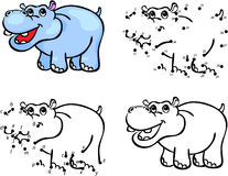 Cartoon hippo. Vector illustration. Coloring and dot to dot game Stock Photography