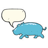 cartoon hippopotamus with speech bubble Stock Photo