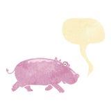 Cartoon hippopotamus with speech bubble Stock Image