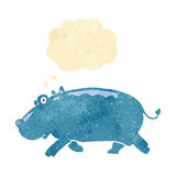 cartoon hippopotamus with thought bubble Royalty Free Stock Image