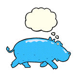 cartoon hippopotamus with thought bubble Royalty Free Stock Images