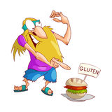 Cartoon hippy upset with gluten. Colorful vector illustration of a cartoon blonde male hippy upset and disturbed by a non gluten free food, sandwich stock illustration