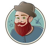 Cartoon hipster in a badge Stock Photo