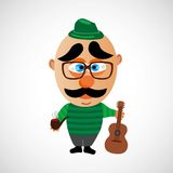 Cartoon hipster with a big bald head. Vector. Royalty Free Stock Photos