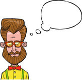 Cartoon hipster bust Stock Images