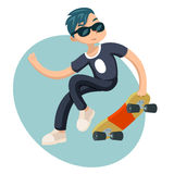 Cartoon Hipster Geek Scater Jump Skateboard Summer Character Icon on Stylish Background Design Vector Illustration Stock Photography