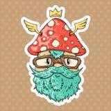 Cartoon hipster mushroom Stock Images
