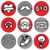 Cartoon hipster nerd icon in circle set. Cartoon  design illustration of hipster nerd icon in circle set, badge, sticker Royalty Free Stock Photo