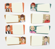 Cartoon hipster people wearing vintage Stock Photography