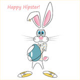 Cartoon hipster rabbit Royalty Free Stock Images
