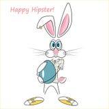 Cartoon hipster rabbit vector illustration