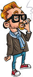 Cartoon hipster smoking a cigarette. Royalty Free Stock Photo