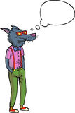 Cartoon hipster wolf Royalty Free Stock Image