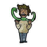 Cartoon hissing snake strangling man Stock Image