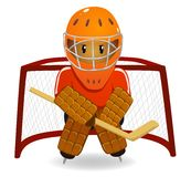 Cartoon hockey goalkeeper Stock Photography