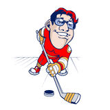 Cartoon Hockey player Stock Image