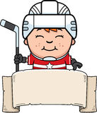 Cartoon Hockey Player Banner Royalty Free Stock Photography